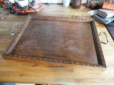 More details for antique art deco / edwardian vintage st dunstan's oak tray with brass handles
