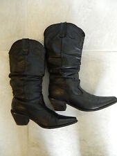"Steve Madden ""Spurs"" Womens Black Leather Western Boots Size 6M"