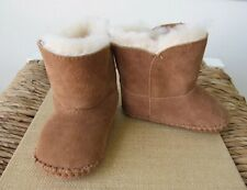 Size: T2 Chestnut Erin Booties New 100% Suede + Beige Sheep Shearling Baby Girl