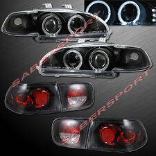 92-95 HONDA CIVIC 2DR COUPE HALO PROJECTOR HEADLIGHTS w/ LED + BLACK TAIL LIGHTS