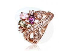 Size 8 Brass 18K Rose Gold Plated Zircon Crystal Lady Girls Women Ring
