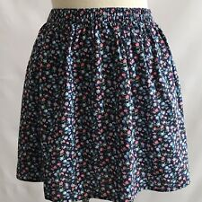 Abercrombie & Fitch Skirt Navy Multi color floral print Elastic Waist Size M