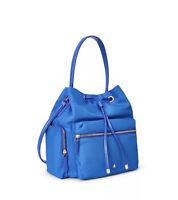 NWT Lauren Ralph Lauren Nylon Debby Drawstring Bag Leather Trim RLL Blue $225