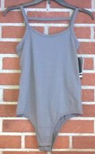 Poof Sleeveless Tank Green Bodycon Bodysuit Leotard Top Snap Front Rouching L
