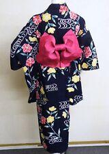 Japanese Women's Casual Kimono Robe Yukata & Obi Flower Pattern Hand-sewn