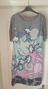 WHITE STUFF Size 10 Multicoloured Patterned Floral/Spotty  Lined Shift Dress