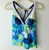 South Point Women's Tankini Top Size 12 Tropical Blue White Yellow Swimming Pool