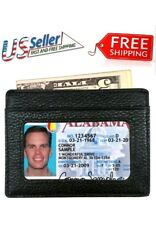 Genuine Leather Front Pocket Slim Thin ID Window Credit Card Money Holder Wallet