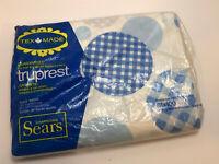 Vintage NEW Tex Made Truprest Sears Double Flat Sheet Blue Polka Dot 1970s Retro