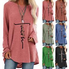 Damen Langarm Shirtkleid Tunika Longtop T-Shirt Bluse Oberteile Übergröße Tops