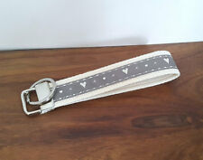 Grey Hearts Handmade Wrist Strap Keyring - Grey Fabric Key Fob - Key Chain