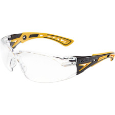 Bolle Rush Plus Safety Glasses Black/Yellow Temples Clear Anti-Fog Lens
