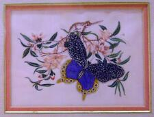 CHINESE SCHOOL BUTTERFLY ON FLOWERS ON RICEPAPER FRAMED C1860