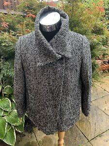 ALEXON Women's Coat Black & White Wool Blend Herringbone Warm  Retro Size UK 16