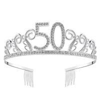 Happy Birthday Crystal Tiara Rhinestone Princess Crown Silver Diamante