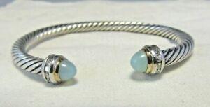 David Yurman SS & 18K Aqua Chalcedony & Diamond  5MM Cable Bracelet