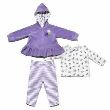 NEW Little Me Girls' 3-piece Top Hooded Jacket Pant Sets Violet Velour 4T