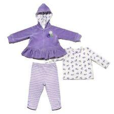 NEW Little Me Girls' 3-piece Top Hooded Jacket Pant Sets Violet Velour 4T