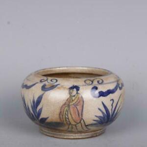 "China Ming Jiajing Underglaze Blue & Red Porcelain Character Design Pot Jar 4.3"""