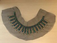 French Beaded Tulle Collar Vintage Haberdashery Wooden Beads 1970s Retro Project