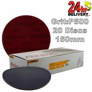 """Mirka Abralon 150mm 6"""" P500 Grit 20x HookNLoop Foam Fine Finishing Discs Pad"""