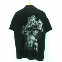 Spiral Men's Shirt Size XL in Black Short Sleeve Cross Graphic #CD1718