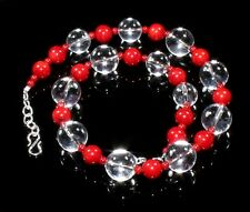 Crystal Quartz Coral Beads Necklace Fashion Gemstone Jewelry Birthday Gift Sale