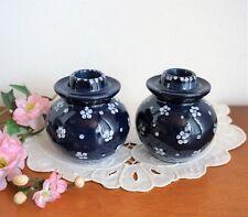 2 Kerzenständer Kerzenhalter Keramik Blau Weiß Blumen Punkte Bemalung TOP