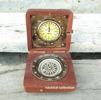 Nautical Ship Compass, Wooden Box Compass & Watch Vintage Collectible Gift