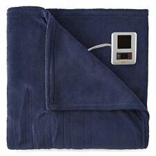 Biddeford Soft Plush Electric Heated Warming Blanket Dual Digital pods King Navy