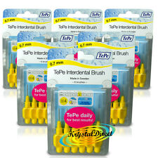 6x Tepe 0.7 mm Giallo INTERDENTAL BRUSH Taglia 4 facile da pulire tra i denti confezione da 6