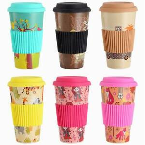 500ML Organic Reusable Bamboo Cups Eco-Friendly Travelling Mug Adult Kids UK