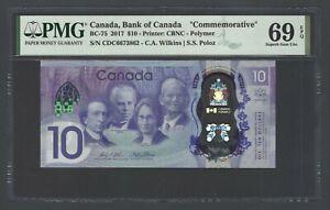 Canada 10 Dollars 2017 BC-75 Commemorative Uncirculated Grade 69 Top Pop