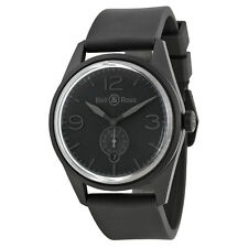 Bell and Ross Vintage Automatic Black Dial Black Rubber Mens Watch