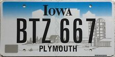 GENUINE Iowa Farm Scene License Licence Number Plate Plymouth County BTZ 667
