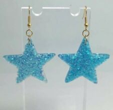 Blue Large Star Holo Glitter Charms Resin Earrings D204 Kitsch 5.5cm Gold
