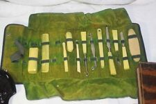 VINTAGE 1920'S ART DECO CELLULOID TRAVEL MANICURE SET ORIGINAL LEATHER CASE
