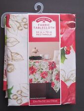 Holiday Time Christmas Poinsettia fabric tablecloth 52x70 rectangle NIP