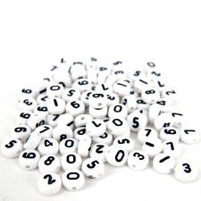 100 x 4 x7mm plastica neri e bianchi assortiti numero BEADS ROUND Circle N2