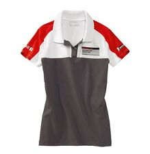 Porsche Women's Polo Shirt – Motorsport Grey/White/Red (EU Sizes - (M/XL/XXL)