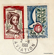 1961 LUFTHANSA PARIS COLOGNE HAMBOURG Airmail Aviation premier vol AC21