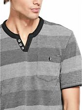 GUESS T-Shirt Men's S/Sleeve Striped Layered Crew Neck Tee Top L Black Grey NWT