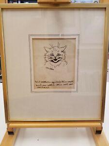 Louis Wain SIGNED Twice Original Pen Drawing w Inscription Written Backwards