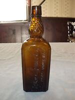 VINTAGE OLD  ANTIQUE 1800S M SALZMAN CO 1/5 GALLON AMBER BROWN MEDICINE BOTTLE