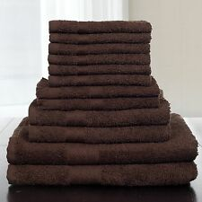Lavish Home 12-Piece 100-Percent Cotton Towel Set, Chocolate Bath Soft Color