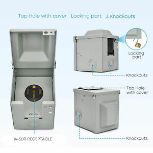 RV Power Outlet Box 50 Amp 14‑50R Outdoor Lockable Swing Cover Rainproof US Plug