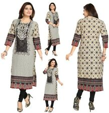 Women Indian Pakistani Designer Embroidery Kurta Kurti Cotton Tunic Dress DK1111