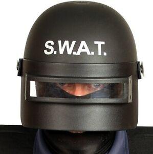 Adult Fancy Dress Special Ops Police SWAT Helmet Black New fg