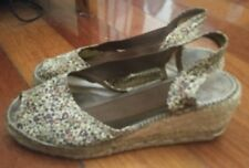 Ladies Summer Floral Brown Wedge Sandles Made in Spain SZ 36