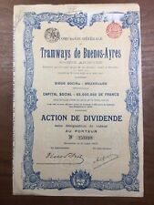 Tramways de Buenos Ayres 1907 Argentine Bruxelles Belgique De Donker Rare Action